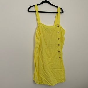 Neon Yellow Linen Romper with Button Detail